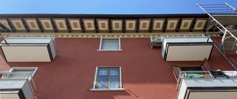rifacimento edificio in bologna particolare del sottotetto